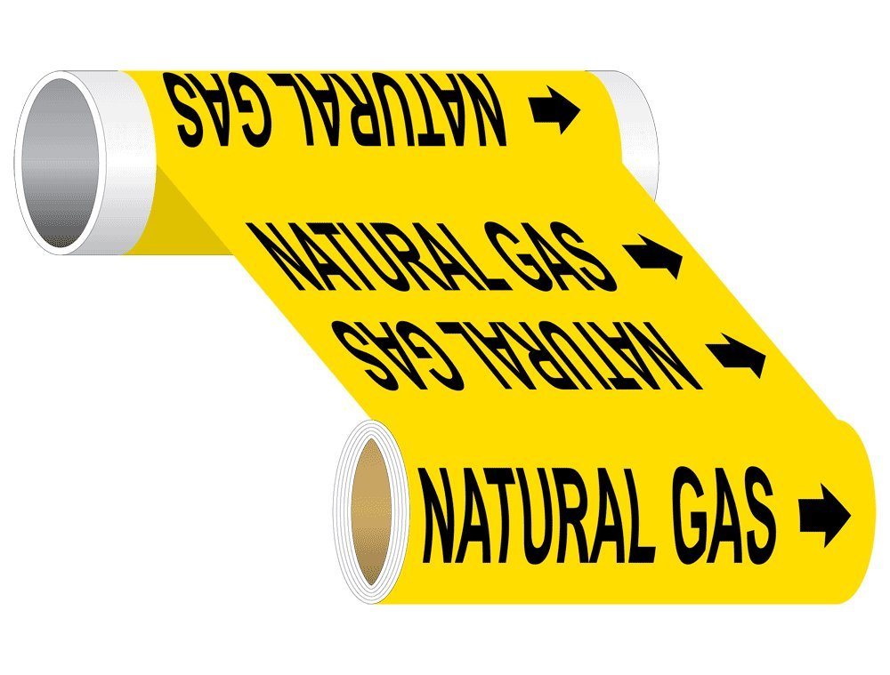 Natural Gas (Black Legend On Yellow Background) Pipe Label Decal, 30x8 in. 5-Pack Vinyl for Pipe Markers Hazmat by ComplianceSigns