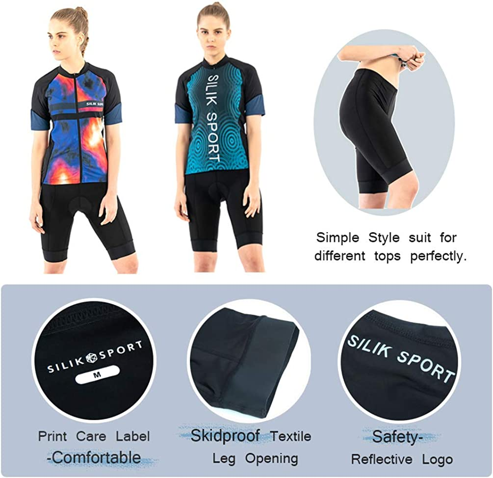 SILIK Womens Cycling Bike Shorts,Padded Compression Bike Tights Breathable Bicycle Pants Reflective