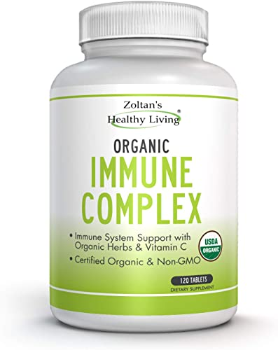 Organic Immune Complex Immune Boosting Herbal Supplement with Ingredients Including Elderberry, Vitamin C from Amla, Oregano, Ginger and More USDA Certified Organic Non-GMO 120 Tablets.