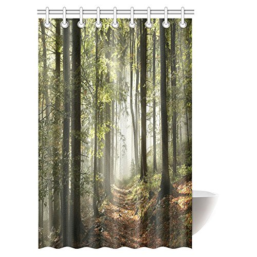 InterestPrint Farm House Decor Shower Curtain Set, Autumnal Forest Pathway in the Mountains With Mist in the Distance Wilderness Scene Fabric Bathroom Shower Curtain, 48 X 72 Inches
