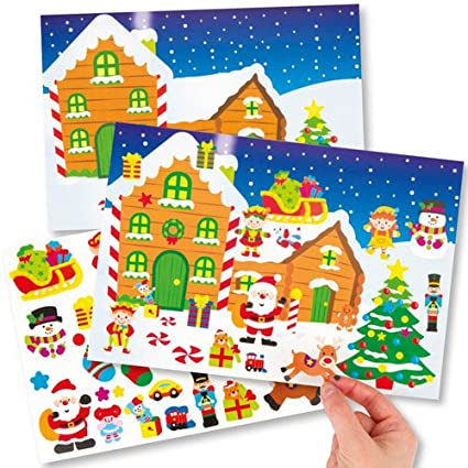 Santas Workshop Sticker Scene Kits For Children To Make Decorate And Personalise Creative Xmas Craft