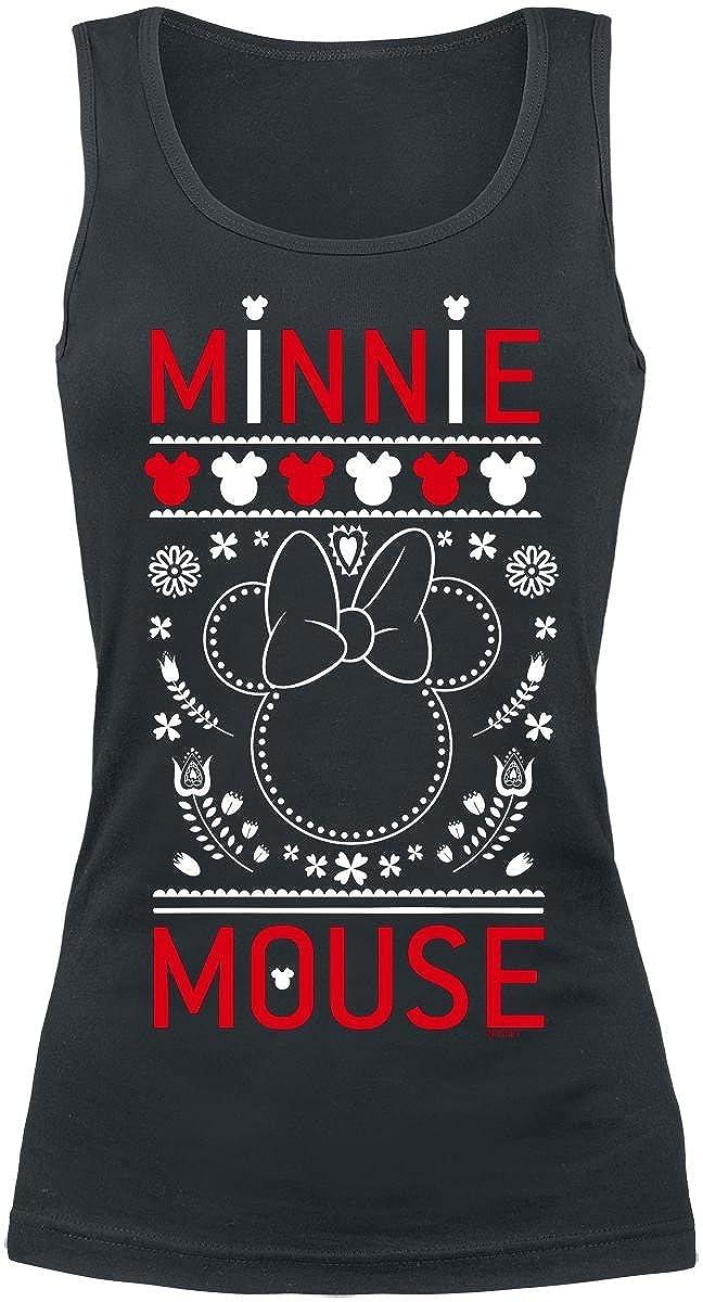 Mickey & Minnie Mouse Folk Débardeur Femme Noir Micky & Minni Maus