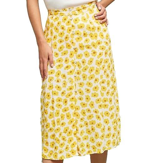 KFHDU Falda Falda de Mujer Botón Floral con Estampado Floral Falda ...