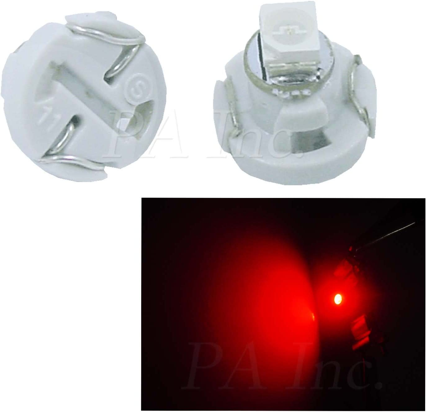 PA 20pcs T3 Car Dash Board Instrument LED Bulbs 5 color options 12v (Red)