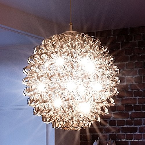 Luxury Modern Chandelier, Large Size: 23.5''H x 23.5''W, with Eclectic Style Elements, Polished Chrome Finish and Crinkled Metal Ribbon Shade, Includes G9 Xenon Bulbs, UQL2611 by Urban Ambiance by Urban Ambiance (Image #7)