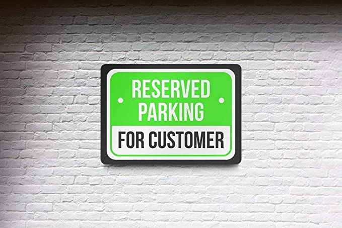 Reserved Parking Taxi Print Green 6 Pack of Signs White and Black Notice Parking Metal Large Sign 12x18
