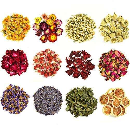 COYMOS Dried Flowers and Herbs 100% Natural Dry Flowers for Candle Making, Resin Jewelry, Bath Bombs - Contains Mint Leaves, Calendula, Hibiscus, Lemon Slices etc. (12 Botanical Varieties Total)