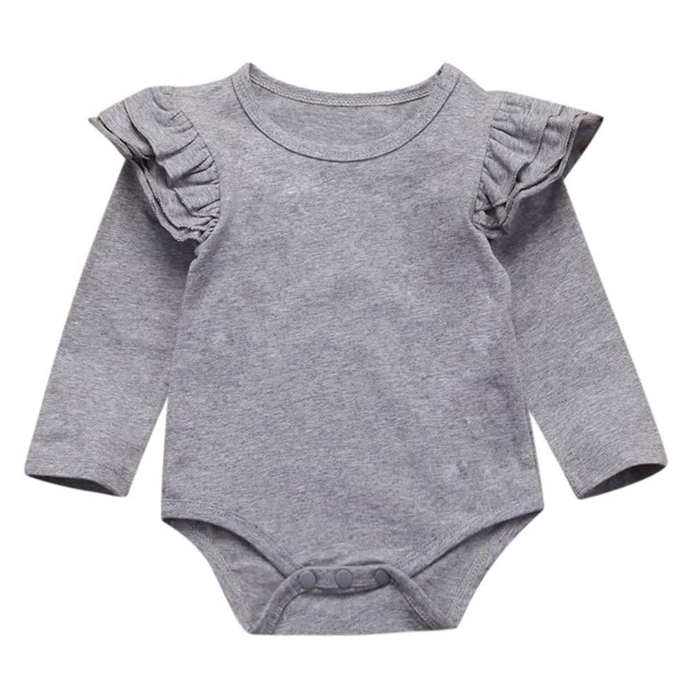 Jimmackey Neonata Manica Lunga Pagliaccetto Solido Falbala Tuta Body Vestiti, Bambina da 0 A 24 Mesi