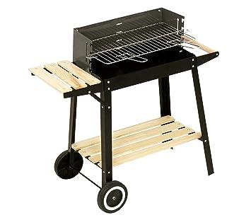 429754 Barbacoa de carbón en acero y madera y ruedas para transportar 58x33x68cm