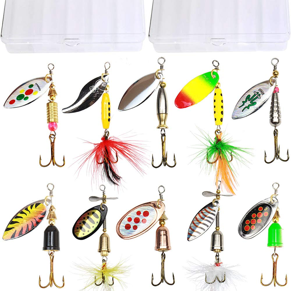 10pcs Fishing Lure Spinnerbait,Bass Trout Salmon Hard Metal Spinner Baits Kit with 2 Tackle Boxes by Tbuymax by TB Tbuymax