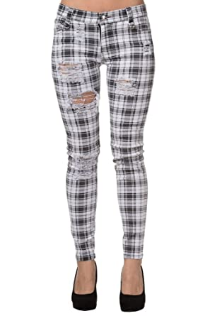 f2d460edf92 Women s White Banned Ripped Tartan Plaid Check Emo Punk Skinny Jeans Pants  Trousers - (S