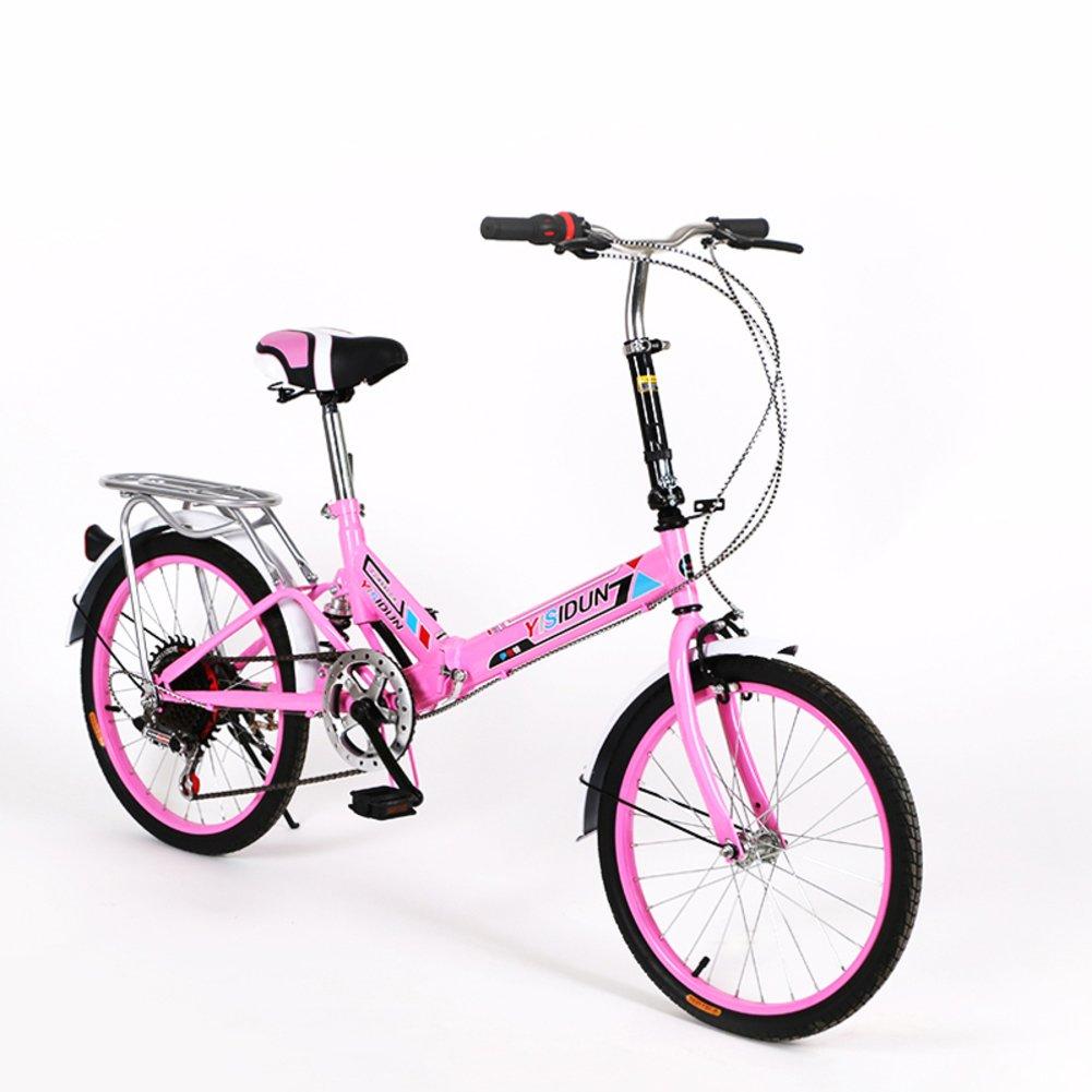 女性 折りたたみ自転車, 大人 折りたたみ自転車 女性自転車 6 速 シマノ 男女 スタイル 学生の車 折りたたみ自転車 B07D2C5S5T 20inch|ピンク ピンク 20inch