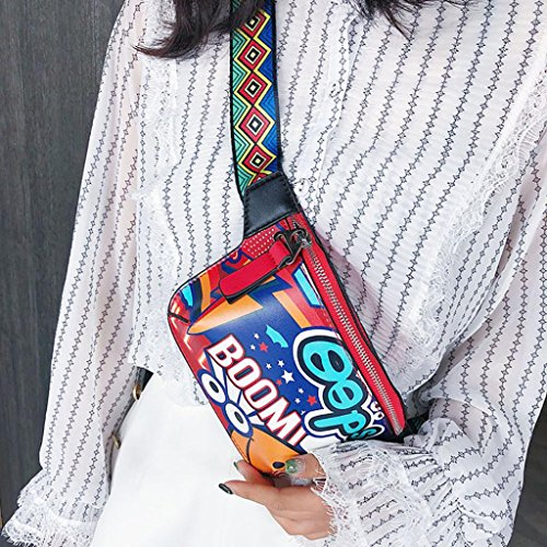 strap printed Women wide bag graffiti chest EUzeo Messenger bag Red shoulder shoulder q7AdXXw8x