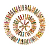 VNFEI Mini Colorful Wooden Photo Paper Peg Pin Clothespin Craft Clips, 100 Pieces
