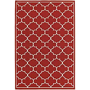 "Washable Rug, Red Transitional Trellis Indoor Outdoor Rug, 3' 7"" X 5' 6"" [ 4x6 ]"