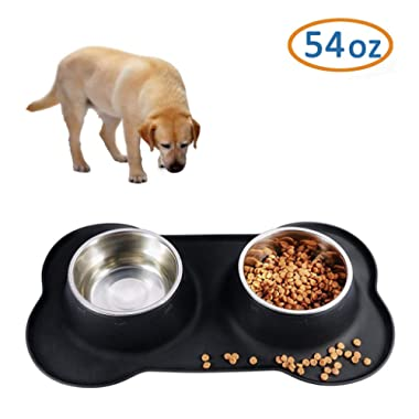 CATOOP Dog Bowls Stainless Steel Dog Bowl Food Water Bowl with No Spill Non Skid Silicone Mat 54oz Pet Bowl Set Feeder Bowls for Feeding Dogs Cats Puppies and Pets