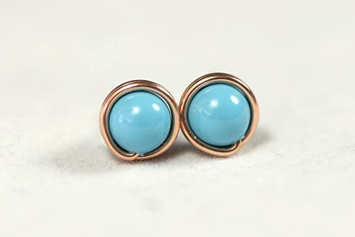 Amazon.com: Rose Gold Turquoise Stud Earrings Swarovski Pearl ...