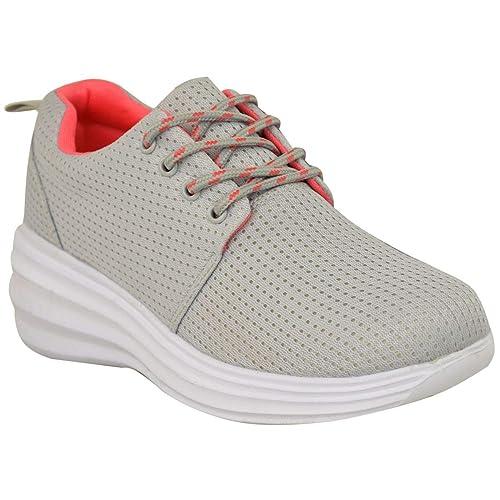 Fashion Thirsty Mujer Chica Grueso Zapatillas Grises Claro Boost Atletismo Corredores Zapatillas Fitness por Heelberry: Amazon.es: Zapatos y complementos