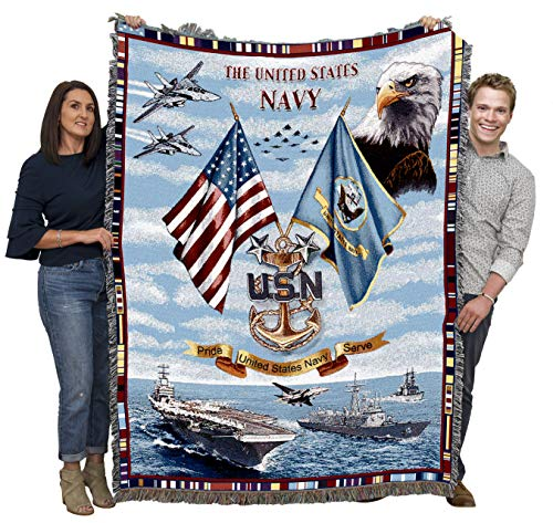 Pure Country Weavers Navy Chiefs USN Gift for Veteran Soldier Woven Throw Blanket 100% Cotton Made in The USA 72x54
