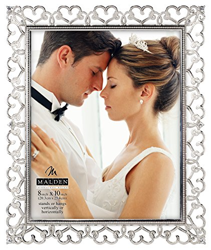 Malden International Designs Enchanted Hearts Pierced Silver with Jewels Picture Frame, 8x10, Silver (Metal Heart Silver)