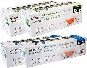 Oliso Pro VAC-SNAP Bags for Oliso Vacuum Sealers (28 Medium 1 Quart Bags, 20 Large 1 Gallon Bags)