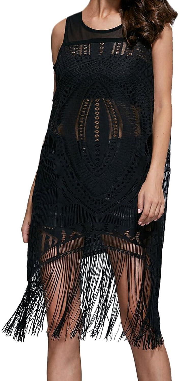 Unko Womens Sexy Hollow Sleeveless Tassels Drape Clubwear Dress
