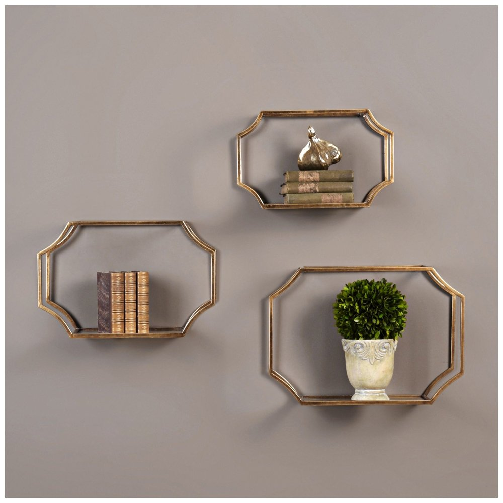 Amazon 3 pc wall shelf set in gold home kitchen amipublicfo Gallery