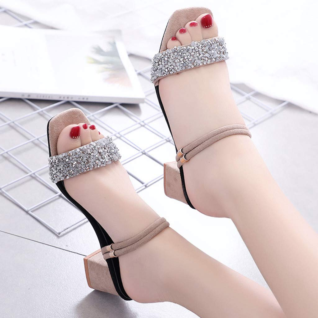 Summer Sandals for Women High-Heel Sandals Rhinestone Sequins Slippers Casual Beach Shoes