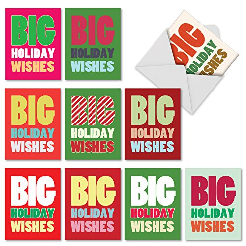 Best Wishes Holiday Card (M1749XS Big Holiday Wishes: 10 Assorted Christmas Note Cards Feature Big Greetings for the Holidays, w/White)