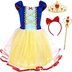 AmzBarley Princess Snow White Costume Dress up for Girls Kids Short Sleeve Birthday Party Cosplay Fancy Dress Child Halloween Evening Holiday Outfit