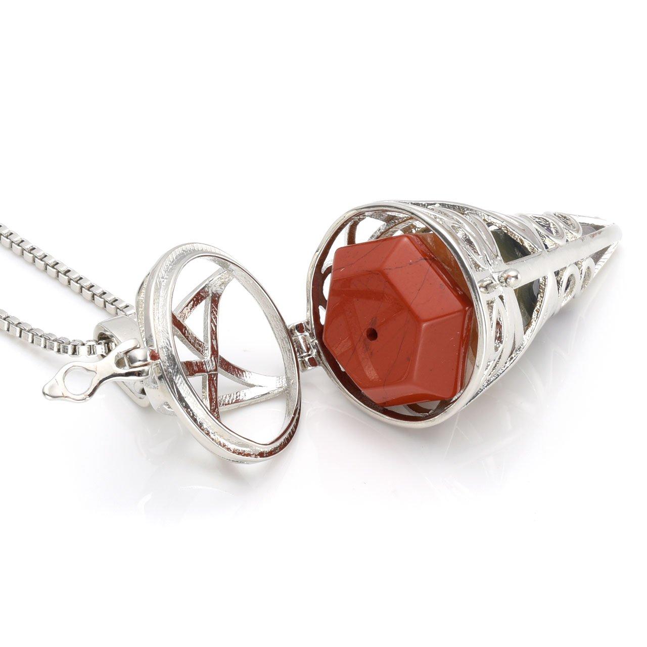 Péndulo Con Cristales Collar de acero inoxidable de 16 pulgadas de oro rosa de Reino Unido