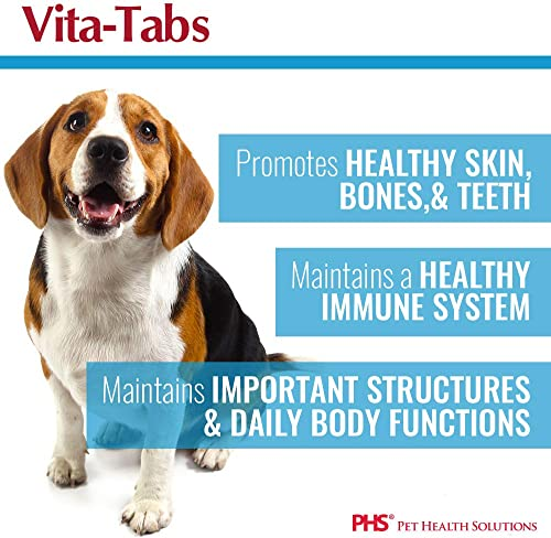 Vita-Tabs – Essential Vitamins, Minerals, Nutrients – Health Supplement for Dogs – Support Immune System, Bones – Liver Flavored – 250 Chewable Tablets