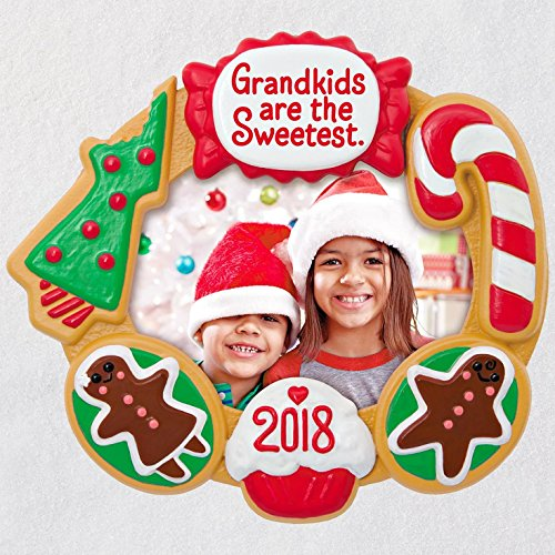 Holiday Frame Ornament - Hallmark Keepsake Christmas Ornament 2018 Year Dated, Grandkids Are the Sweetest Picture Frame, Photo Frame