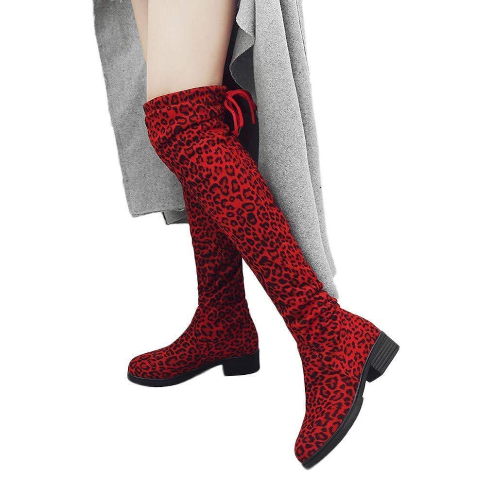 ZHRUI Frauen Leopard Lange Stiefel, Damenmode Wildleder Flache Flache Flache Ferse Ankle Schuhe Runde Kopf Schnee Biker Schuhe für Winter Warm Outdoor Wandern Radfahren (Farbe   Rot, Größe   8.5 UK) a72864