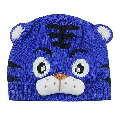QinMM 0-24 Mes Sombrero con Estampado de Tigre de Punto Gorras de ...