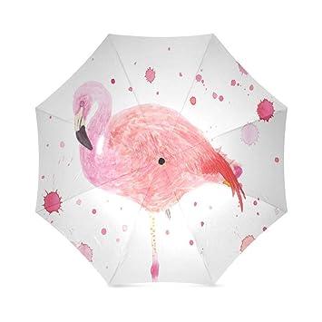 YICOCO Generic paraguas rosa Flamingo Auto paraguas poliéster Pongee impermeable compacto paraguas automático paraguas plegable para