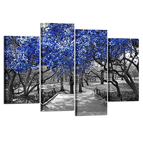 Kreative Arts - 4 Panel Canvas Prints Blue Blossoms Trees in Black and White Landscape Scene in Central Park New York City Picture Wall Art Modern Canvas Painting for Home Decoration L47xH32inch (Art Print Deco Canvas)