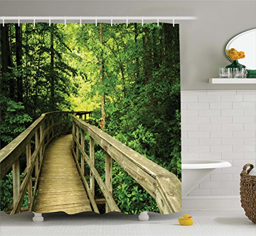 Green Shower Curtain House Decor by Ambesonne, Park Summertime Scenic View  Environment Nature Holidays Adventure Scene Picture, Fabric Bathroom Shower  ...