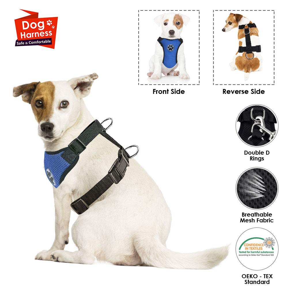 No Seatbelt, Only Harness SlowTon Dog Car Vest Harness Multifunction Adjustable Double-Ring Breathable Mesh Fabric Harness for Cat Puppy Road Trip Daily Walks