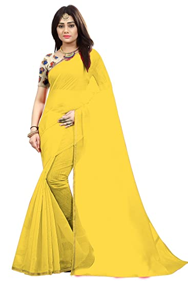 de03b3465b8712 Radiance Star Chanderi Cotton Saree with Blouse Piece (Rs1222 Yellow Free  Size)  Amazon.in  Clothing   Accessories