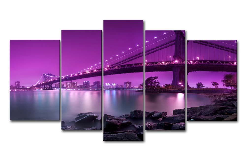 Purple Bridge Canvas Wall Art