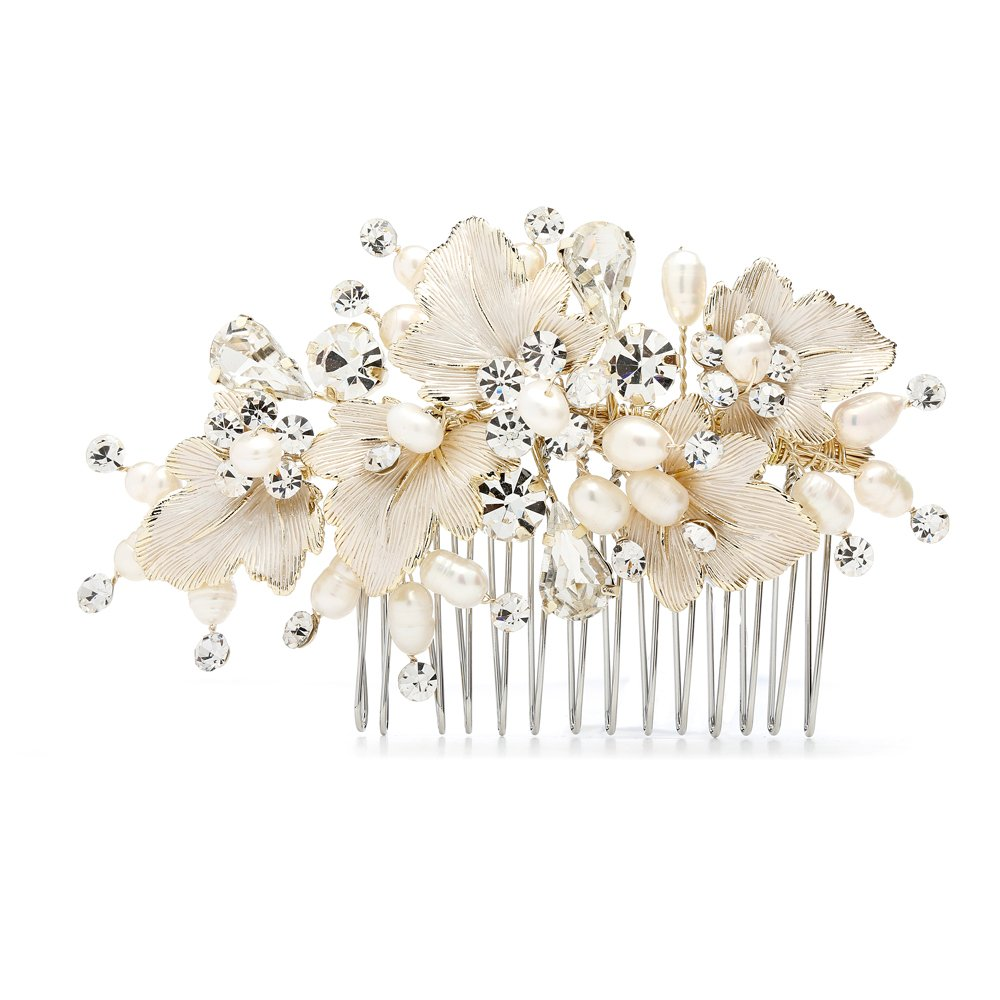 Mariell Couture Bridal Hair Comb with Hand Painted Gold Leaves, Freshwater Pearls and Crystals by Mariell