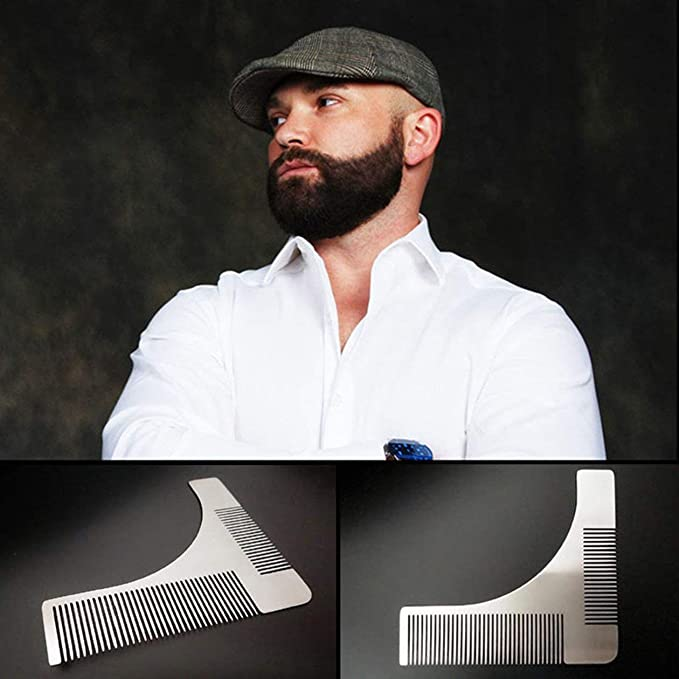Acero inoxidable Barba Recorte Peine Conformación Styling Template Gentlemen Beard Trimmer Tool para Cheek Jaw Bigote: Amazon.es: Salud y cuidado personal