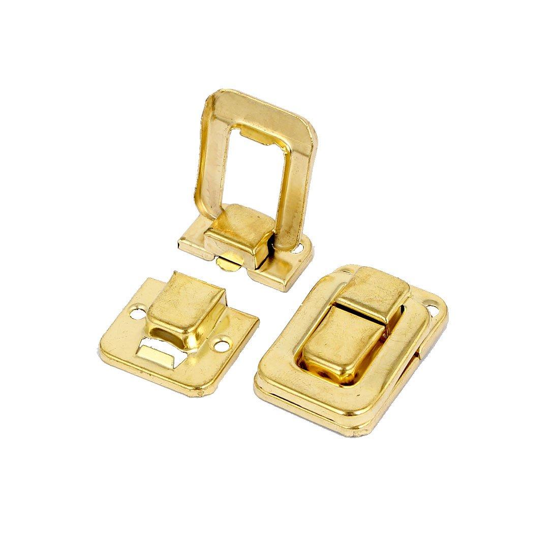 sourcingmap 5 St/ück Taschen Holz Eisen Umschalten Verriegeln Haspe Schloss Gold 38mm L/änge de