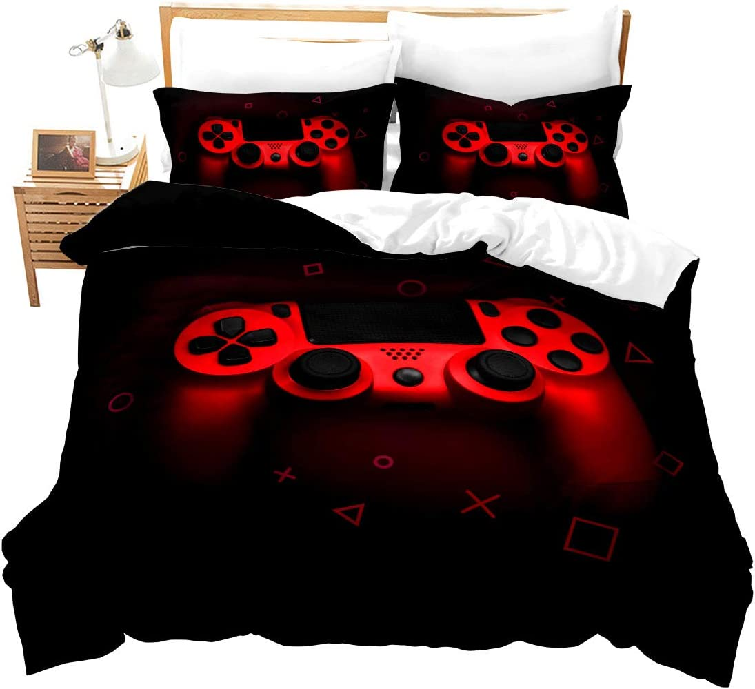 Boys Gamer Comforter Cover Twin Size,Gamepad Bedding Set Kids Young Man Video Games Duvet Cover for Teen Child Game Room Decor Red Classic Arcade Retro Gaming Quilt Cover with Controller Button
