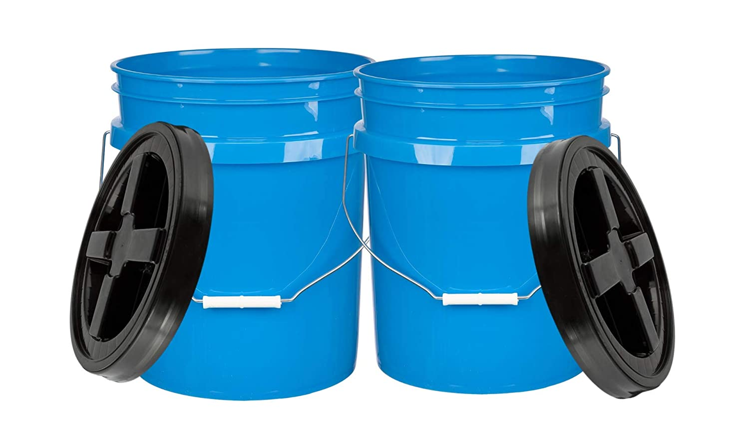 House Naturals 5 Gallon Food Grade BPA Free Bucket Pail with Black Gamma Screw on Lid (Pack of 2)