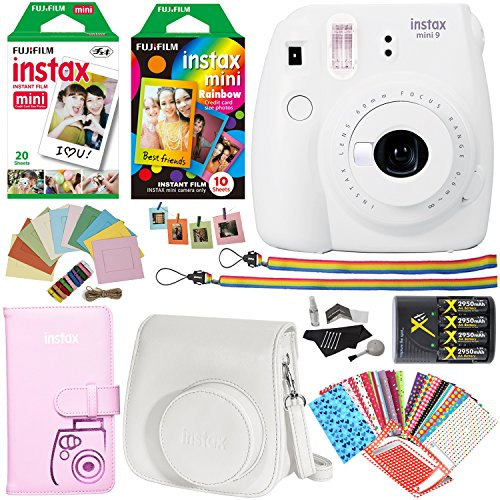 Kit Twin Camera (Fujifilm Instax Mini 9 Instant Camera (Smokey White), Rainbow Film Pack, Twin Pack Instant Film, Case, 4 AA Rechargeable Battery with charger, Square Photo Frames and Accessory Bundle)