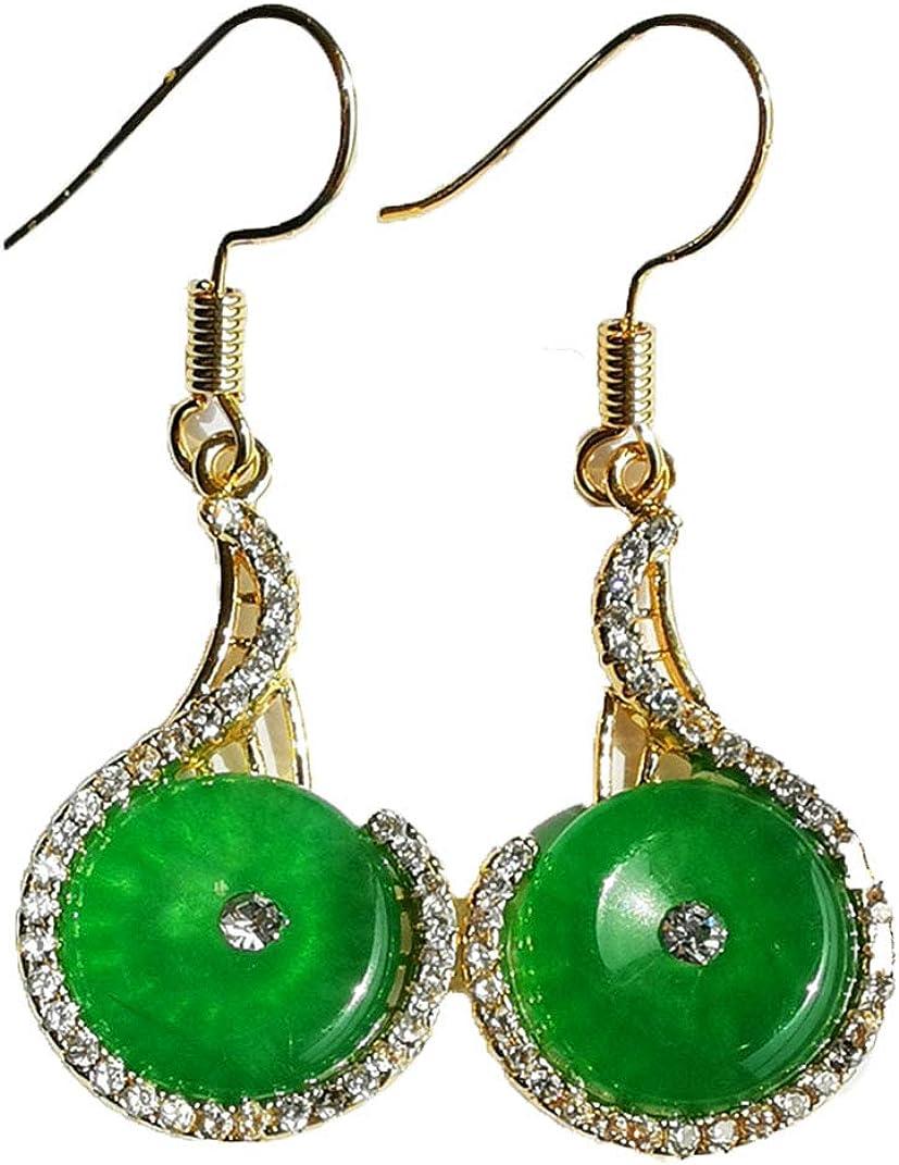 Juego de pendientes con hebilla de jade natural, color verde imperial