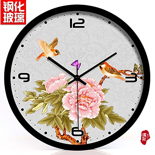 (TNKML Large Indoor Decorative Wall Clock Peony Flower and Bird Creative Clock Hotel Classic Living Room Kitchen Clock Country Quiet Quartz Clock 222, 14 Inches, Black Metal Border)
