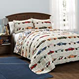 3 Piece Multi Graphic Quilt Full/Queen Set, Delightful Race Car Themed, Adorable Horizontal Car Stripes Pattern,Abstract Colorful Racing Cars,Grey Background Reversible Bedding,For Boys,Vibrant Colors